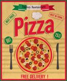 Pizza poster. Pizza delivery poster.Vector illustration royalty free illustration
