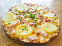 Pizza potato and ham Stock Photo