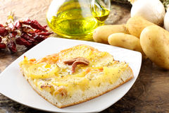 Pizza with potatoes Royalty Free Stock Photos