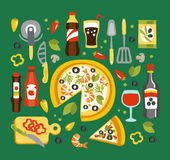 Pizza Preparation And Eating Elements, Italian Cuisine Dish With Associated Utensils, Drinks And Sauces Stock Photography