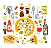 Pizza Preparation Set Of Utensils Illustration Stock Photos