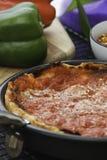 Pizza profonda del piatto Immagini Stock Libere da Diritti