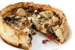 Pizza profunda del plato del estilo de Chicago Fotos de archivo