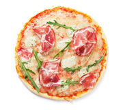 Pizza with prosciutto and mozzarella Royalty Free Stock Image