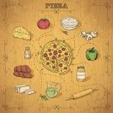 Pizza przepis rysunkowy wręcza jej ranek bielizny jej ciepłych kobiety potomstwa Obrazy Stock