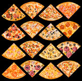 Pizza quarters set, isolated Stock Photo