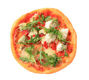 Pizza quattro formaggi with arugula Stock Photos