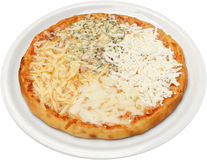 Pizza Quattro formaggi with cheese, feta, melted and cream cheese Royalty Free Stock Photos