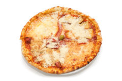 Pizza Quattro Formaggi  on the white background Stock Photography