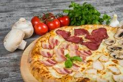 Pizza in quattro parti, con i rosmarini e le spezie su un fondo di legno leggero immagini stock libere da diritti
