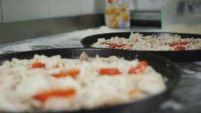 Pizza que cocina en la cocina de la pizzería El cocinero prepara una pizza, poniendo los ingredientes en la pasta El cocinero pon almacen de metraje de vídeo