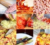 Pizza que hace el collage fotos de archivo libres de regalías