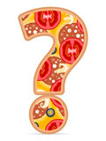 Pizza question symbol Royalty Free Stock Images