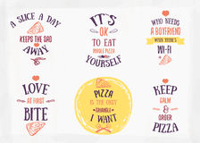 Pizza quote typographical set. Vector illustration of pizza in hand drawn cartoon style. Can be used for poster Royalty Free Stock Photos