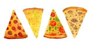 pizza różni rodzaje Wręcza rysującą stylizowaną akwarelę ustawiającą dla plakatów i kart ilustracja wektor