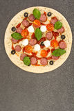 Pizza raw semifinished product before baking royalty free stock images