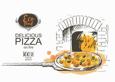 Pizza ready to bake in the oven vector illustration. Pizza on a shovel baked in the wood fire oven in the kitchen Hot fresh pizza in a rustic Italian style with Royalty Free Stock Images