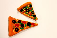 Pizza. Realistic pizza made of art clay stock photography