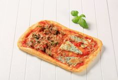 Pizza rectangulaire Image libre de droits
