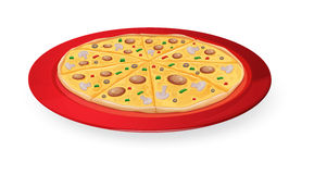 Pizza in red dish Stock Photos