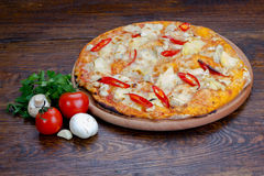 Pizza with red pepper Stock Images