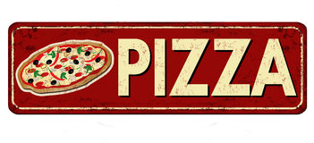 Pizza red vintage rusty metal sign Stock Photography
