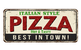 Pizza red vintage rusty metal sign Royalty Free Stock Images