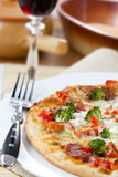 Pizza and red wine Royalty Free Stock Photo
