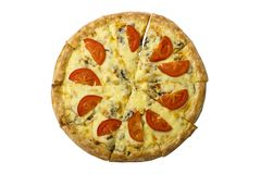Pizza redonda con el pollo y las setas adornados con queso con los tomates frescos en un fondo blanco Imágenes de archivo libres de regalías