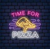 Pizza restauracyjny neonowy znak na ciemnym ceglanym tle royalty ilustracja