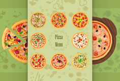 Pizza Restaurant concept menu. Piece of pizza on the cutting board. Pizza menu illustration. Royalty Free Stock Photo