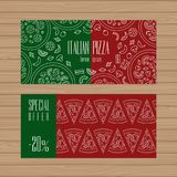 Pizza restaurant design. Flyer layout template with modern line stock illustration