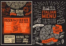 Pizza restaurant menu. Food flyer for italian bar and cafe. Desi. Gn template with vintage hand-drawn illustrations vector illustration