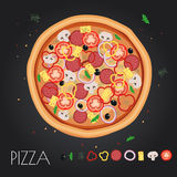 Pizza restaurant menu. Ingredients for cafe . Vector illustration Royalty Free Stock Photos