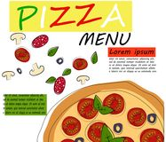 Pizza restaurant menu template with ingredients. Vector Royalty Free Stock Photo