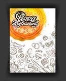 Pizza restaurant, sketch menu, food cafeteria Stock Photos