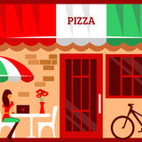 Of pizza restaurant with terrace in front Stock Photos