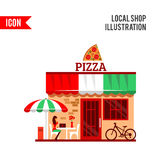 Of pizza restaurant with terrace in front Royalty Free Stock Images