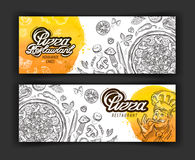 Pizza restaurant vector logo design template. eatery, diner or cooking icons Royalty Free Stock Images