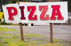 Pizza Restaurant Weathered Sign Stock Photography