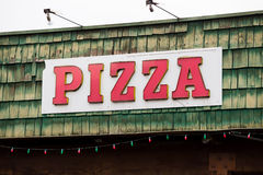 Pizza Restaurant Weathered Sign Stock Photos