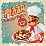 Pizza retro banner chef Royalty Free Stock Photography