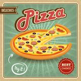 Pizza retro plakat Obraz Royalty Free