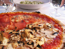 Pizza at roadside cafe in rome Stock Image