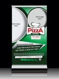 A pizza rola acima a bandeira Imagens de Stock Royalty Free