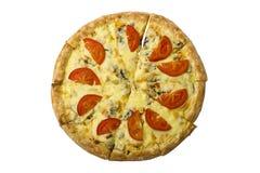 Pizza ronde avec le poulet et les champignons décorés du fromage avec les tomates fraîches sur un fond blanc Images libres de droits
