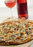 Pizza and rose wine Royalty Free Stock Photography