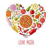 Pizza's icons in heart shape. Vector flat pizza's icons in heart shape top view. Love Pizza Stock Photos