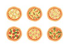 Pizza's met verschillende bovenste laagjes met inbegrip van Margherita, garnalen, bacon, ui, tomaten Hoogste mening Vector illust Royalty-vrije Stock Afbeeldingen