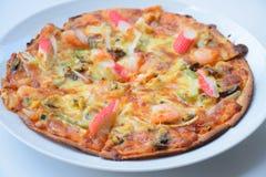Pizza sabrosa, pizza de los mariscos, pizza con los mariscos, pizza con los mariscos Fotos de archivo libres de regalías